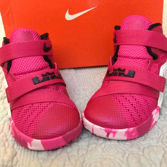 eeb9a791191d Pink   white Nike Lebron Soldier IX girls sneakers